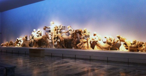 Pediment of the Temple of Zeus in the Archaeological Museum Of Olympia