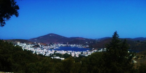 view over the port of Patmos