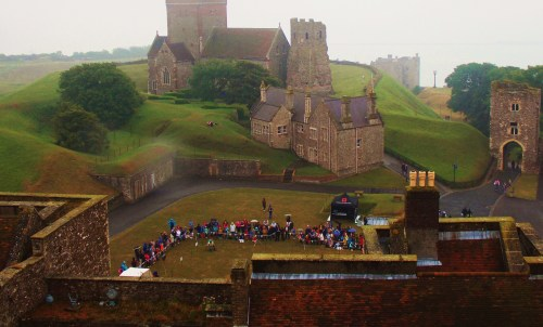 it was overcast and raining,but the castle didn't lose its majestywas