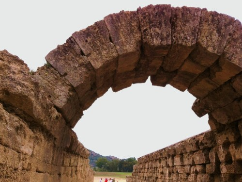 The monumental entrance,Krypre, to the Stadium at the Archaeological site of Olympia - Greece